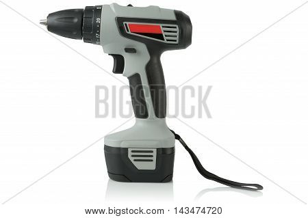 new battery drill screwdriver on white background