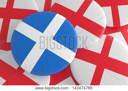 Independence: Scottish Flag And English Flag Badges 3d illustration