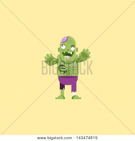 Stock vector illustration a zombie character for halloween in a flat style