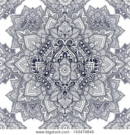 Beautiful Bohemian floral paisley seamless ornament. Indian paisley vector pattern.