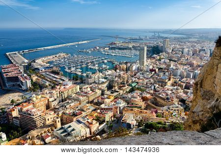 View on Alicante old city and port from castle Santa Barbara, summer Spain