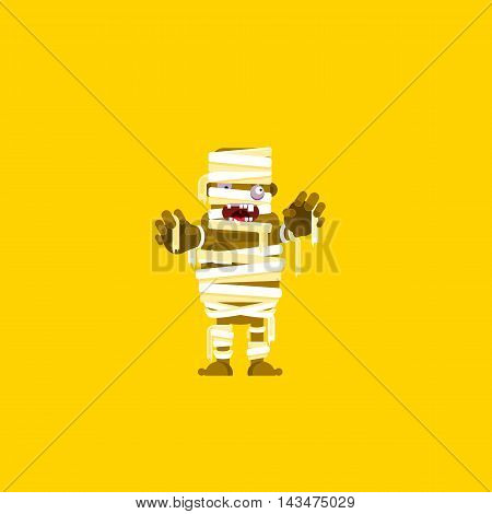 Stock vector illustration a mummy character for halloween in a flat style