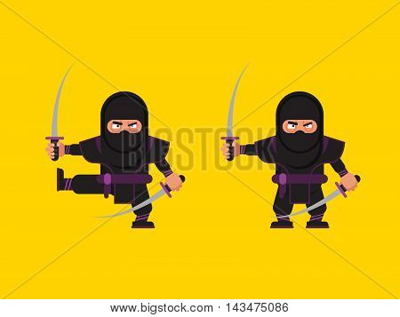 Stock vector illustration of ninja character in a flat style