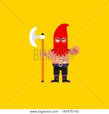 Stock vector illustration a executioner character for halloween in a flat style