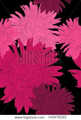 Beautiful seamless background with pink flowers aster. Hand-drawn contour lines and strokes.
