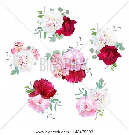 Small wedding floral bouquets of peony alstroemeria lily mint eucaliptus. Pink white and burgundy red flowers.