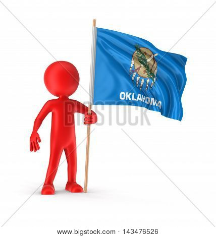 3d Illustration. Man and flag of the US state of Oklahoma Image with clipping path