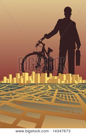 Illustration of a businessman and bike silhouette over a city