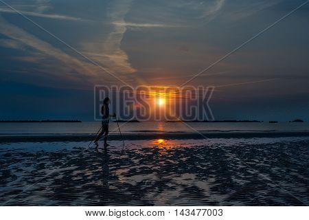 Nordic Walking On The Beach At Sunrise