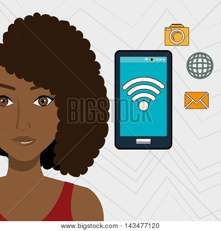 woman smartphone app global vector illustration graphic eps 10