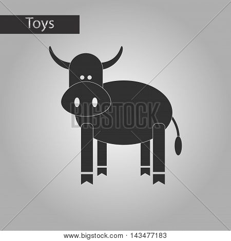 black and white style Kids toy cow