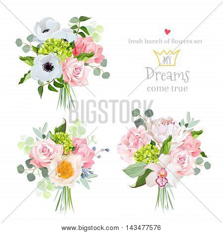 Surprise bouquets of rose peony anemone hydrangea carnation orchid and eucalyptus leaves. Vector design set. All elements are isolated and editable.