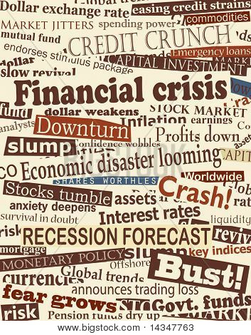 Background design of newspaper headlines about economic problems