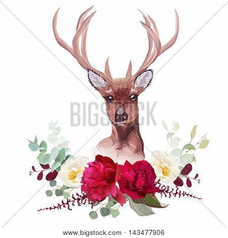 Deer and elegant autumn horizontal floral bouquet vector design objects. Burgundy peony white wild rose red and green leaves.