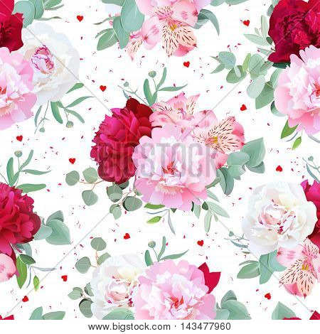 Romantic floral seamless vector print with peony alstroemeria lily mint eucaliptus on white. Pink white and burgundy red flowers. Dotted background with small hearts.