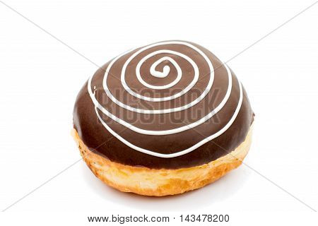 creative chocolate donuts on a white background