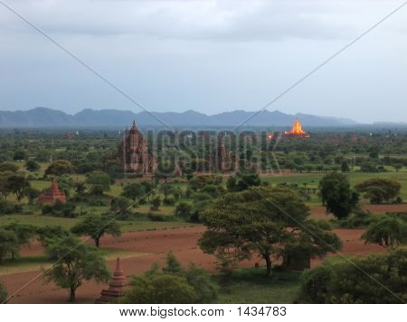 Landscape View At The End Of The Sunset With Many Buddhist Temples, Bagan, Myanmar
