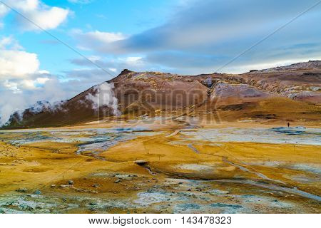 View at Hverir geothermal area in north Iceland