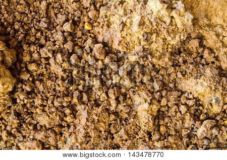 Dry soil surface cracks with stone texture background