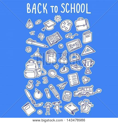 Concept of education. Back to school. Freehand drawing school items on blue background.