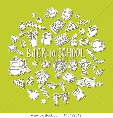 Concept of education. Back to school. Freehand drawing school items on green background.
