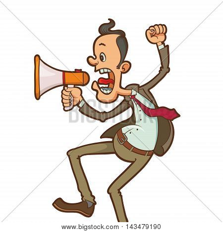angry man shouting through megaphone vector illustration