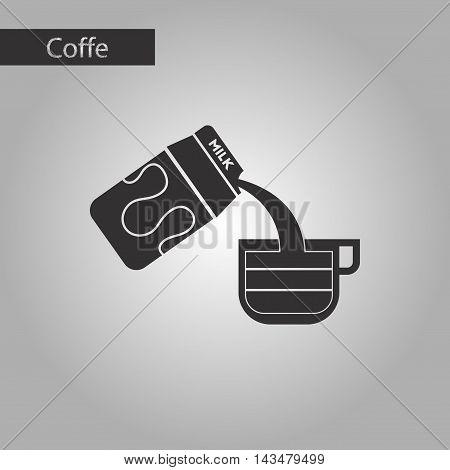 black and white style icon coffee carton milk