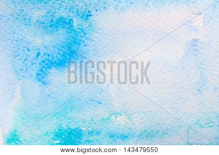 Abstract background original art watercolor painting. Paper texture with green and blue stains. Colorful handmade technique aquarelle.