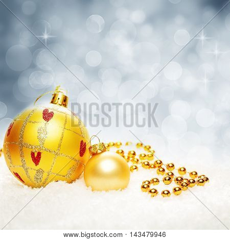Christmas Twinkled Bokeh Background with Xmas Balls and Snowflake