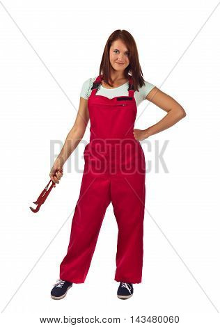 Woman In Red Overalls  , Isolated On White