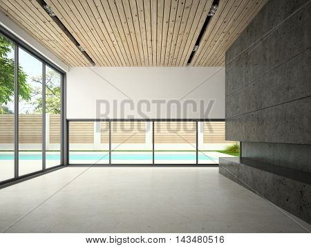 Interior of empty room with swiming pool 3D rendering