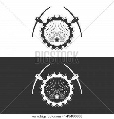 Star and Sunburst in Gear with Pickaxe on White and Gray Background ,Mining Industry, Logo Design Element ,Vector Illustration