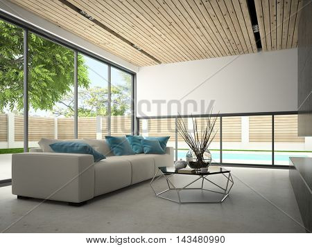 Interior hous with swiming pool 3D rendering