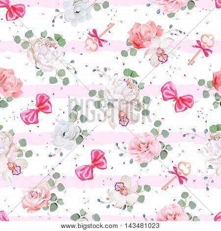 Striped pink seamless vector print with red satin bows speckles and flowers. Rose peony camellia carnation anemone eucaliptus leaves. Dotted backdrop.