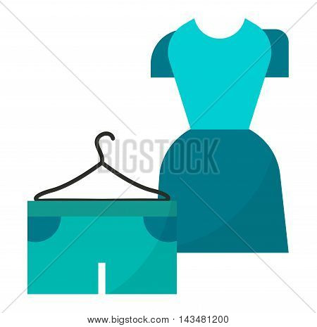 Fashion dress and long woman dress with sleeves. Elegant classic summer dress pretty clothing. Bright hanger dress beauty and fashion women glamour series flat vector illustration.
