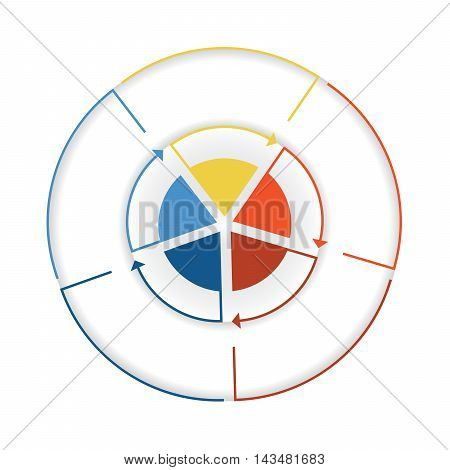Arrows from colourful lines Around circle. Template infographic five position. Pie chart