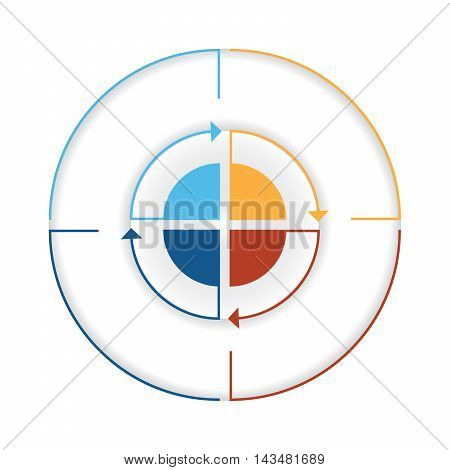 Arrows from colourful lines Around circle. Template infographic four position. Pie chart
