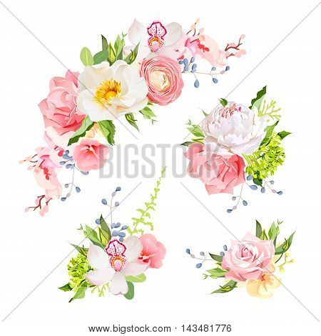 Bright birthday bouquets of wild rose peony orchid carnation ranunculus hydrangea blue berries and green leaves. Vector design elements.