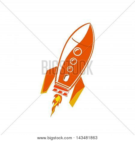 Red Rocket, Spaceship Isolated on White Background, Vector Illustration