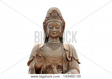 Statue of Guanyin isolated on white background and have clipping paths.