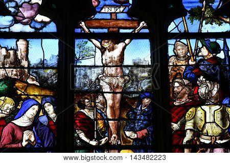 Triel sur Seine France - june 12 2016 : Jesus on a window in Saint Martin church
