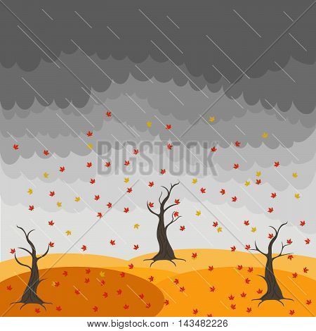 Autumn landscape with trees and fields. Leaf fall image. Wind. Birds. Rain. Nature illustration