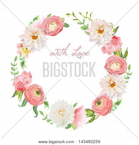 Sweet dahlia, ranunculus, rose, carnation, green plants round vector design frame. All elements are isolated and editable.