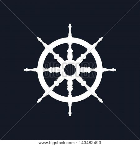 Ship Wheel Isolated on Black Background, Ship Equipment ,Vector Illustration