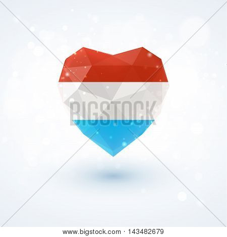 Flag of Luxembourg in shape of diamond glass heart in triangulation style for info graphics, greeting card, celebration of Independence Day, printed materials