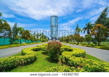 Kota Kinabalu,Sabah-Aug 17, 2016:Tun Mustapha Tower,formerly known as the Sabah Foundation Building,this circular tower of steel & glass stands 30 storeys high in the Likas Bay area & as a Sabah icon.
