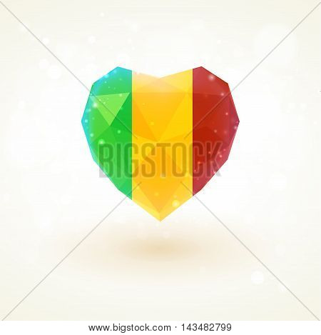 Flag of Mali in shape of diamond glass heart in triangulation style for info graphics, greeting card, celebration of Independence Day, printed materials