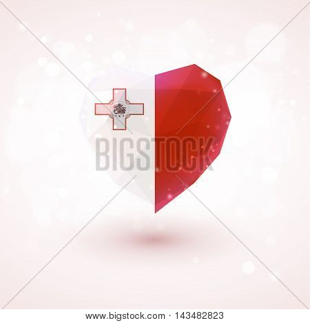 Flag of Malta in shape of diamond glass heart in triangulation style for info graphics, greeting card, celebration of Independence Day, printed materials