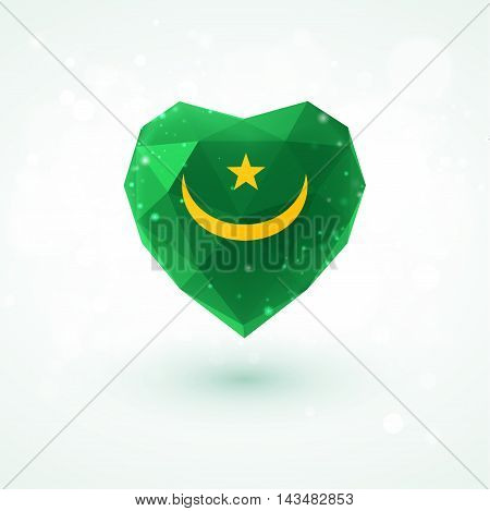Flag of Mauritania in shape of diamond glass heart in triangulation style for info graphics, greeting card, celebration of Independence Day, printed materials