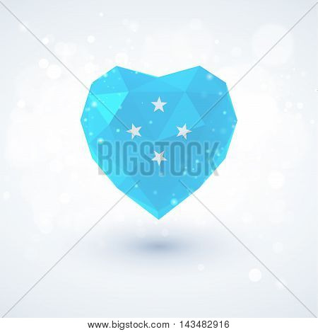 Flag of Micronesia in shape of diamond glass heart in triangulation style for info graphics, greeting card, celebration of Independence Day, printed materialsFlag of Laos in shape of diamond glass heart in triangulation style for info graphics, greeting c
